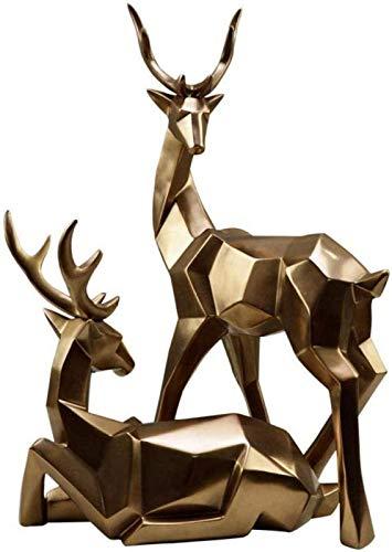 aipipl Decoracin Animal y esculturas 2 Piezas Resina Dorada Ciervo Figura Estatua hogar Sala de Estar decoracin Escritorio artesana Regalos Escultura