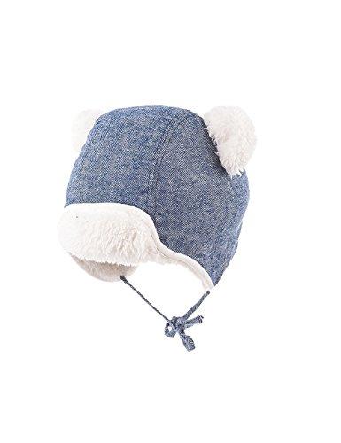 maximo Baby-Jungen Parkamütze mit Ohren, Bindeband Mütze, Mehrfarbig (Denim/wollweiß 4038), 43/45