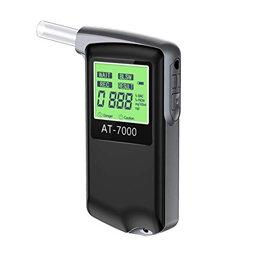 Breathalyzer, Professional Breathalyzer Alcohol Tester, USB Rechargeable Portable Breath Alcohol Tester with Backlight LCD Display for Personal & Professional Use with 10 Mouthpieces