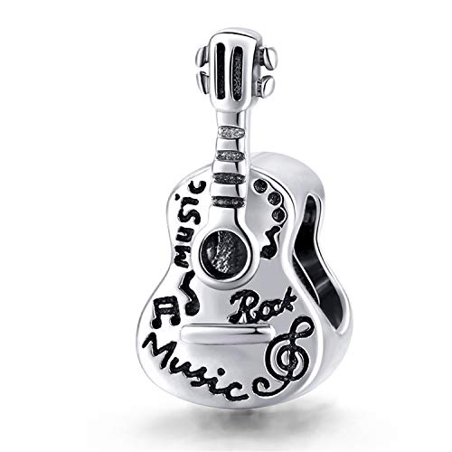 ZiFouDou Abalorio para Pulsera Pandora&Chamilia,Dijes De Plata De Ley 925,Originales Bead Charm para Collare- Guitarra Simple