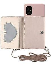 TYWZ Crossbody Case voor Samsung Galaxy A41, Schouderriem Portemonnee PU Lederen Flip Cover met Creditcard Houder Stand Functie Siliconen Zachte Back Case-Roze