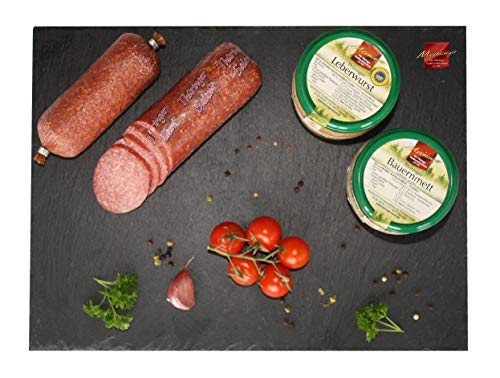 Wurst aus Thüringen I Sortiment aus zwei Gläsern und zwei Salami I Wurst der Meininger Traditionsfleischerei