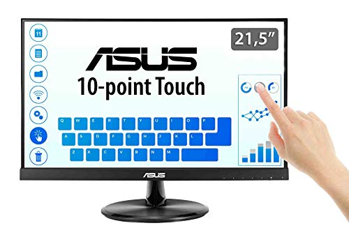 ASUS VT229H 54,6 cm (21,5 Zoll) Touch Monitor (VGA, HDMI, Full HD, 5ms Reaktionszeit, 10-Punkt-Touchscreen) schwarz