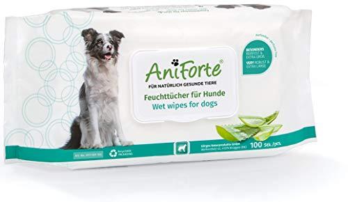 AniForte Salviette umidificate per cani, 100 pezzi – Panni deodoranti XXL con extra freschezza, ipoallergenici, particolarmente delicati, antistrappo, biodegradabili, pulizia naturale