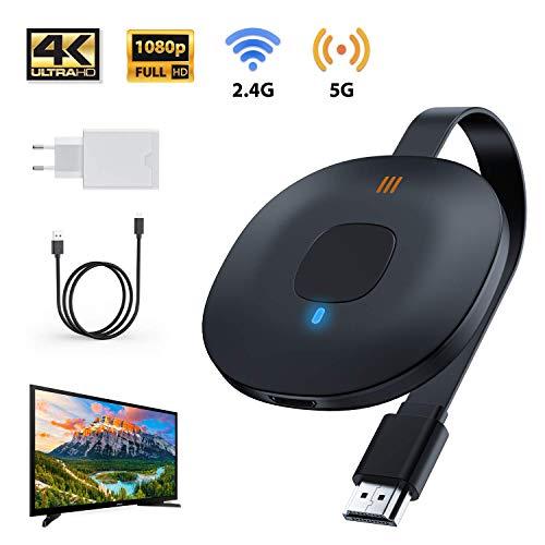 WATSABRO Wireless WiFi Display Dongle 4K, 5GHz+2.4GHz WiFi Drahtlos Mini Bildschirm teilen Anzeigeempfänger 1080HD,WiFi Anzeige Dongle Passen für Android Smartphone/IOS/PC/TV/Monitor/Projektor