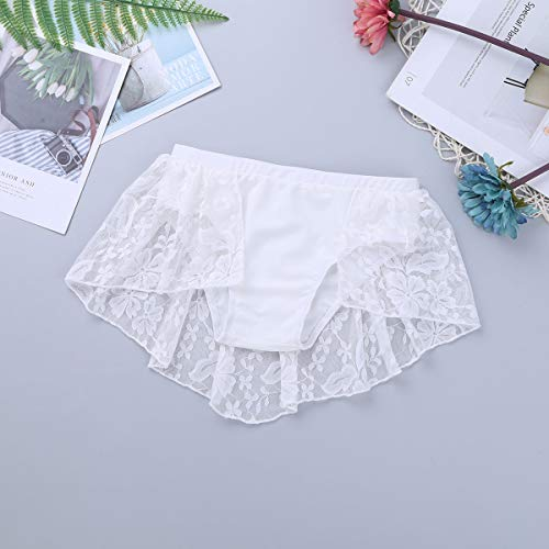 Yeahdor Children Kids Lace Floral 2 Pieces Lyrical Modern Contemporary Dance Outfits Active Crop Top & Tutu Skirt White 9-10 Years