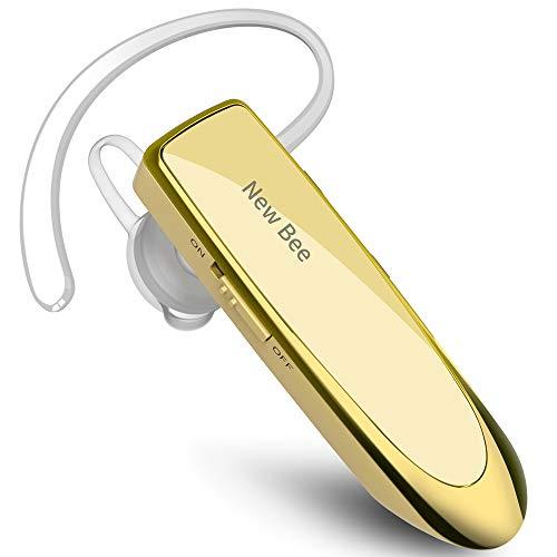 New Bee Manos Libres Auricular Bluetooth Auricular inalámbrico Bluetooth Mano Libre con tecnología de Captura de Voz Clara Auricular Bluetooth para iPhone Samsung Huawei Sony, etc (Oro)