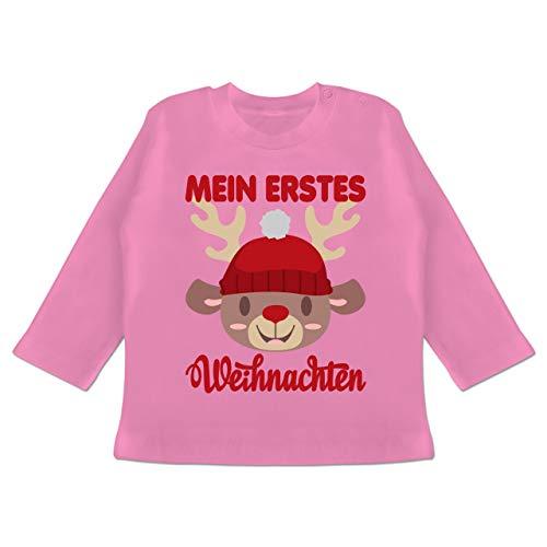 Weihnachten Baby - Mein erstes Weihnachten mit Rentier - 3/6 Monate - Pink - Baby weihnachtsoutfit - BZ11 - Baby T-Shirt Langarm