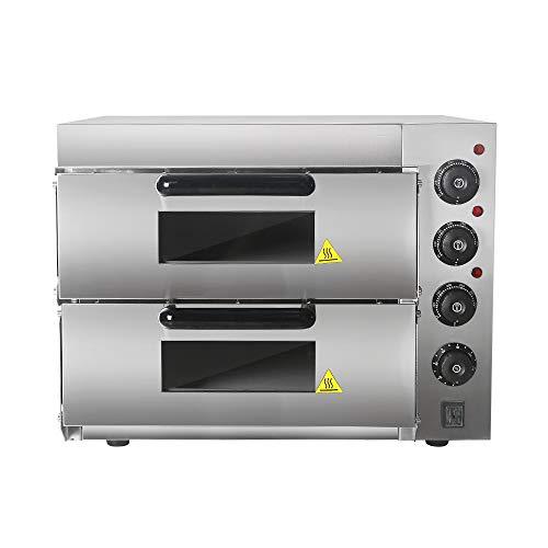 Horno comercial de doble capa con piedra para pizza – Acero inoxidable tostado para hornear pollo, pan, horno eléctrico