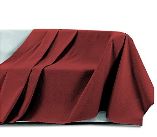 Centesimo Web Shop Telo ARREDO COPRITUTTO in 2 Misure - Prodotto in Italia Gran Foulard Multiuso Telo Tuttofare COPRIDIVANO COPRIPOLTRONA - Fantasia Tinta Unita - 250x300 cm Rosso