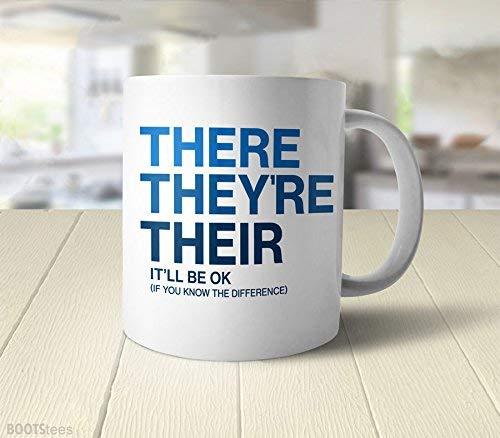 N\A Regalo de Profesor de inglés para Escritor, Taza de gramática, Taza Divertida, Taza de Nerd, Regalo de Escritor para Ella, Taza de Profesor de inglés, Taza de café Divertida con Dicho