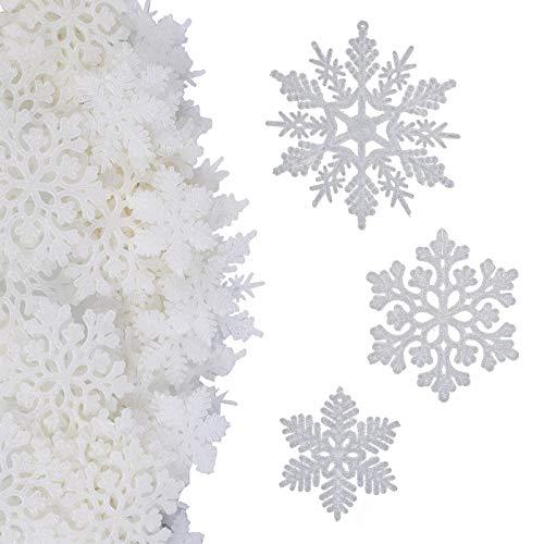 MIZOMOR 50 pcs Weihnachten Schneeflocken Fensterdeko Weihnachten Glitter Schneeflocken Deko Weihnachtsbaum Hängende Ornamente Plastik Aufhängen Weihnachtsbaum Weihnachtsdeko 5/7.5/10cm Weiß