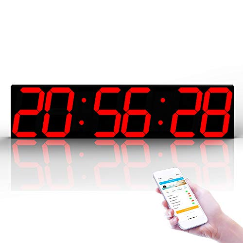 WNZL Control Remoto Jumbo Led Digital Reloj de Pared, App Calendario Grande,...