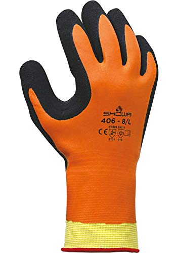 SHOWA 406, Latex, Latexschaum – Beschichtung, Kälte, Orange / schwarz, 9/XL