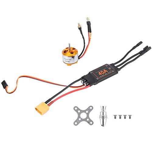 Motor RC sin escobillas ESC Set, Durable 2212 KV2200 Motor + 40A Brushless ESC XT60 RC Motor ESC Set para Accesorios de actualización de helicópteros Drone