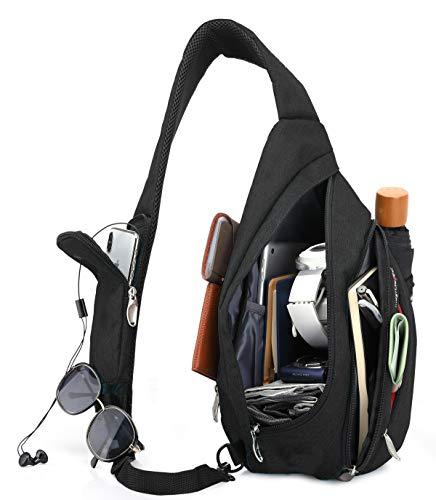 Magictodoor Sling Bag for Men Women Travel Packs Chest Backpack w/Anti-theft RFID Blocking Pocket & USB Charging Port (Black)