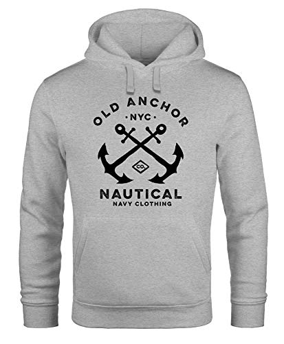 Neverless® Hoodie Herren gekreuzte Anker Old Anchor Nautical Kapuzen-Pullover Männer grau 3XL