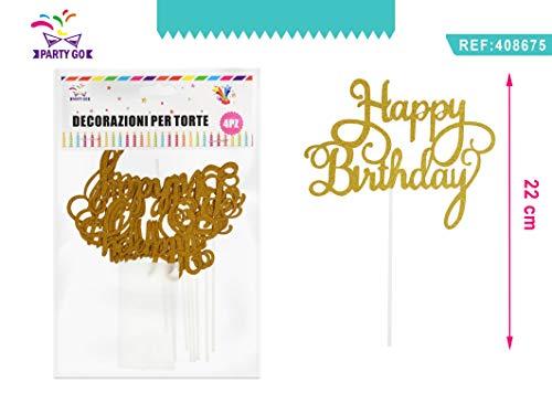 PARTYLANDIA- Conf. 4 Picks Decorazioni Torta Happy Birthday Oro Dorati, Colore, 408675