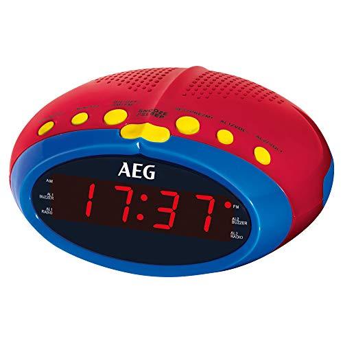 AEG MRC 4143 Uhrenradio für Kinder, mit UKW/MW-PLL Radio und 24-Stunden LED-Display, Einschlafautomatik (90 Min.), Wecker-Funktion, Uhrzeitgangreserve