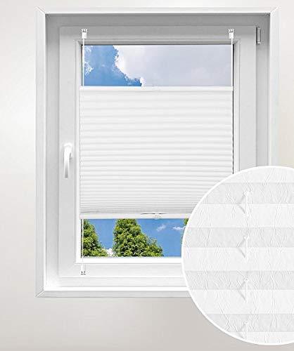 Laneetal Plissee ohne Bohren Klemmfix, Jalousie Faltrollo Crushed Optik, Weiß 120 x 130 cm, mit Spannschue für Fenster und Tür, Easyfix klemmträger und verspannt, Sonnen-, Sicht- & Schallschutz