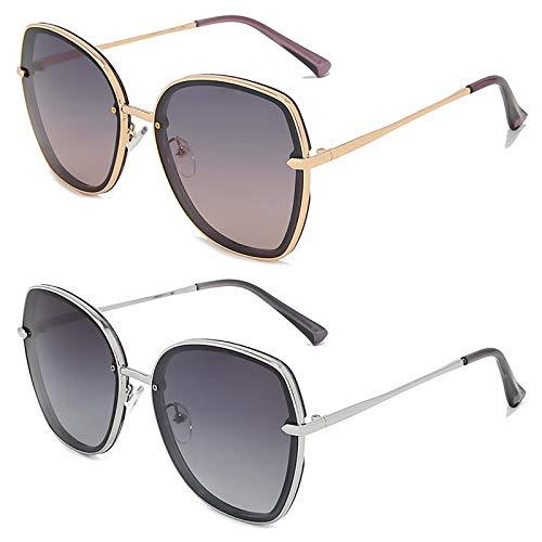 HFSKJ Pack de 2 Gafas de Sol, Gafas de Sol polarizadas Conducir y Conducir Gafas protección UV Las Gafas Populares Son adecuadas para Hombres y Mujeres,B