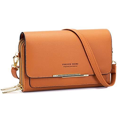 Roulens bolso pequeño para teléfono con bandolera para mujer, bolsos de piel sintética para teléfono, bolsos de hombro con ranuras para tarjetas de crédito