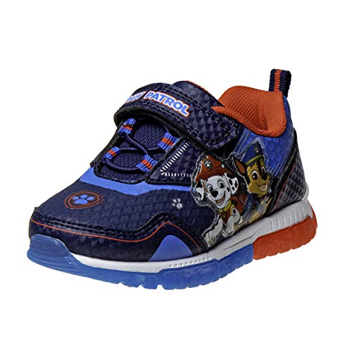 Nickelodeon Boys' Paw Patrol Sneakers - Laceless Light-Up Running Shoes, Size 10 Toddler, Blue and Red