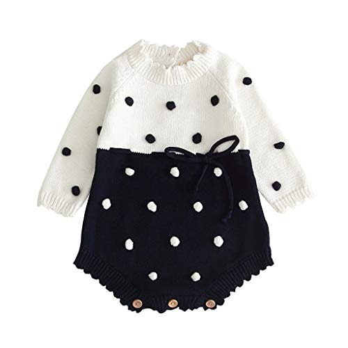 Livoral Warmer gestrickter Overall des Babys,Kleinkind Pullover häkeln Bodysuit Kleidung(Schwarz,3-6 Monate)