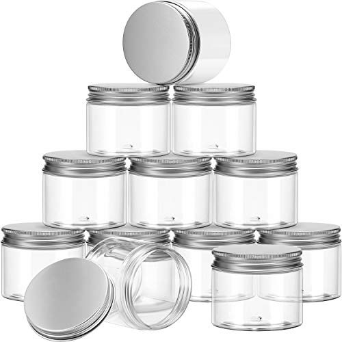SATINIOR Empty 12 Pack Clear Plastic Slime Storage Favor Jars Wide-Mouth Plastic Containers with Lids for Beauty Products, DIY Slime Making or Others (7 Ounce)