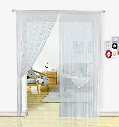 HSYLYM Fadenvorhang Schlafzimmertür, als Insektenvorhang oder Raumteiler verwendbar, Polyester, weiß, 90x200cm