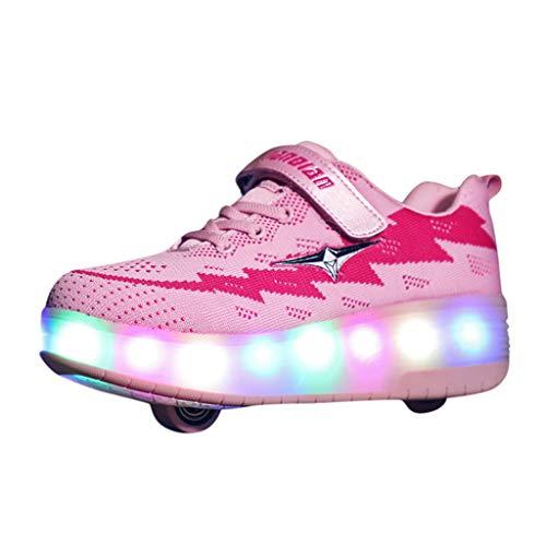 Unisex Kinder Freizeit Räder Schlittschuh USB Wiederaufladbar Schuhe, Blinkende Leuchtende Boardschuhe, Junge Mädchen Sportschuhe Laufschuhe, Baby Turnschuhe Hallenschuhe Sneakers