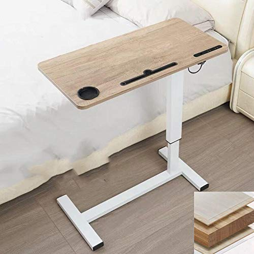 Carbon Steel Laptop Computer Stand with Yellow Density Board,Adjustable Height, Lockable Casters, USB,Drafting Table for Use with Beds in Hospitals and Home Desk