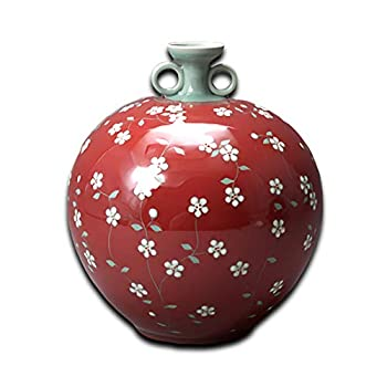 Mellow Breez Korean Traditional Pottery Porcelain Ceramic Vase Jar | Antique Oriental Home & Office Decor Furniture Accents Handmade Craftwork Gift | Decorative Flower Blossom Drawings Large  Red