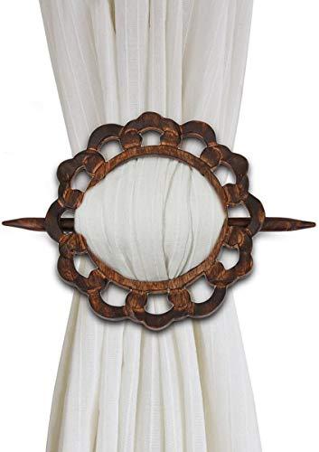 Dekorative Vorhang-Raffhalter aus Holz, 2 Stück, Fenster-Behandlung, Vorhangbindung, handgeschnitzt, rustikales Finish, Heimdekoration