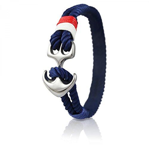 Skipper Anker-Armband mit Silbernem Edelstahl Anker für Damen und Herren - Marine 7037
