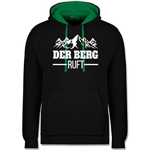 Après Ski - Der Berg Ruft - weiß - L - Schwarz/Grün - Geschenk - JH003 - Hoodie zweifarbig und Kapuzenpullover für Herren und Damen