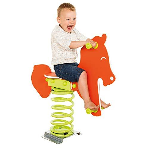 Federtier Pferd orange für den öffentlichen Bereich Spielplätze DIN EN1176 Schaukelpferd Wipppferd TÜV geprüft