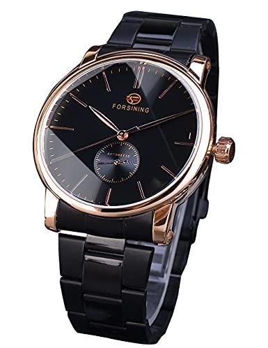 Forsining Minimalista Hombres Moda Negro Acero Inoxidable Negocio Automático Reloj Mecánico Unisex Oro Rosa 60 Segundos Dial Reloj de Pulsera