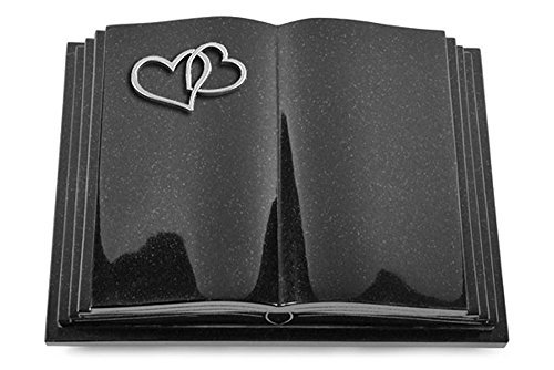 Grabbuch, Grabplatte, Grabstein, Grabkissen, Urnengrabstein, Liegegrabstein Modell Livre Pagina 40 x 30 x 8-9 cm Indisch-Black-Granit, poliert inkl. Gravur (Aluminium-Ornament Herzen)