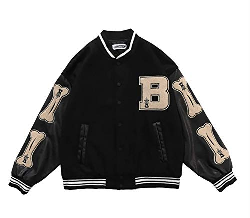 LQQSD Chaqueta para Hombre Chaqueta Deportiva con Cremallera Estilo Béisbol Chaquetas con Estampado Vintage Abrigo De Béisbol Chaqueta Deportiva Universitaria (Color : Black, Size : XXL)