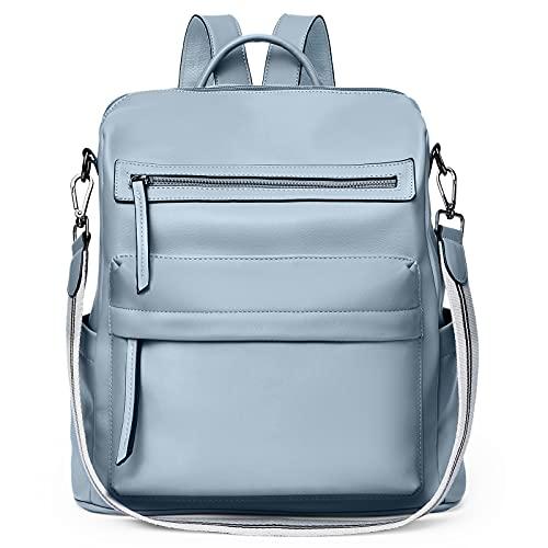 BROMEN Bolso de la mochila para las mujeres de la moda del diseñador de cuero del viaje grandes señoras, Azul / Patchwork, L, Viajar