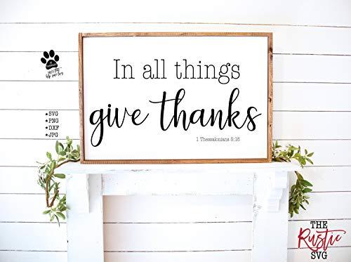 Rea66de Holzschild, Aufschrift In All Things Give Things, bedruckbar, christliches Schild, christliches Holzschild, Herbstschild, Holzschild, 005