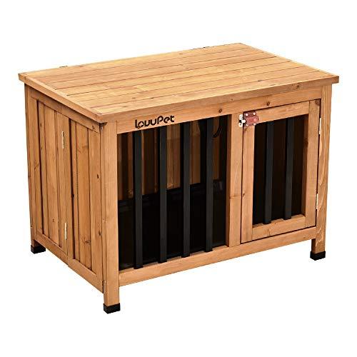Lovupet tragbare Faltbare Hundehütte Hundehaus Hundebox XL, aus unbehandeltem Holz, Indoor und Outdoor 0651D