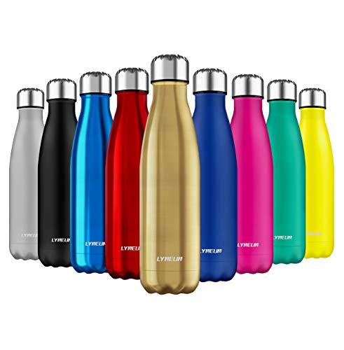 Lyneun Botella de Agua Acero Inoxidable 500ml, Reusable Ecological BPA Free Thermos, Thermal Bottle...