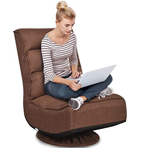 RELAX4LIFE Bodenstuhl mit 360° drehbarem Sockel, Bodensessel mit 5 winkelverstellbarer Rückenlehne 90°-135°, klappbarer Relaxsessel, bis 150kg belastbar, Lazy Sofa für Wohnzimmer und Büro (Braun)