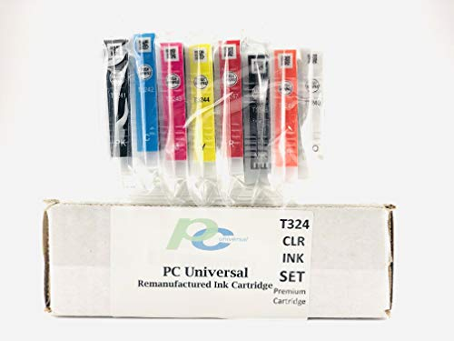 PC Universal Remanufactured Ink Cartridges Replacement for Epson 324 Cartridge Set(8 pcs),Guaranteed OEM Quality