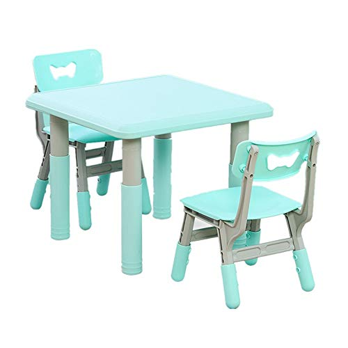 Buy ShurndGao High Chair Plastic Children's Table and Chair Set Baby Table Height Adjustable Feeding...