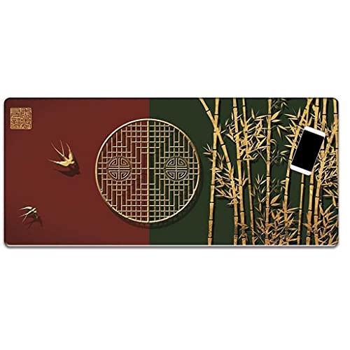 JXSFRH Extended Large Gaming Mouse Pad Golden Bamboo Bird Non-Slip Water-Resistant Rubber Base Computer Keyboard Mouse Mat with Stitched Edge for Gamer Office 31.5 x 11.8-inch 2mm