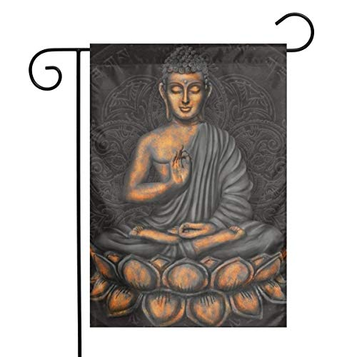 Dapuge Gautama Buddha with Mantra Background Garden Flag Set 12X18 Inch.Vertical Small Home Sweet Holiday Weather Resistant Yard Flag for Welcome Decorative Outdoor Yard Flag…