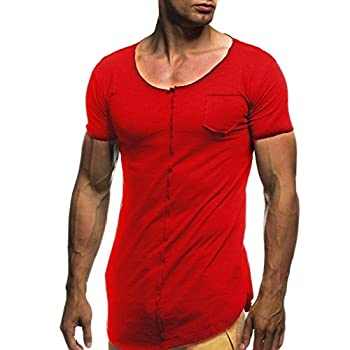 2018 T-Shirt,Fashion Personality Boy Men Solid Color Slim Patchwork Short Tee Tops Best Gift by ZYooh  Red M